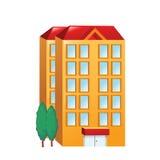 Stor orange byggnad för symbol Arkivbild
