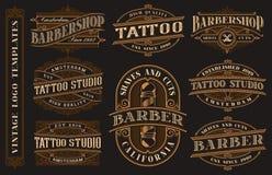 Stor packe av tappninglogomallar för den tatueringstudion och frisersalongen vektor illustrationer