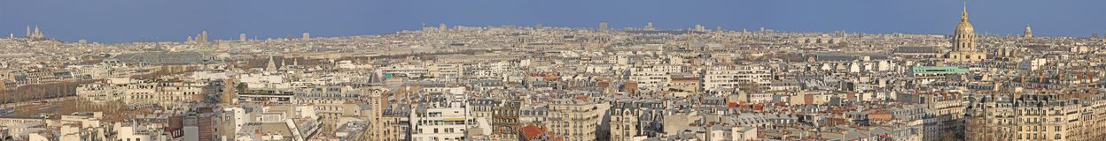 stor panorama paris Arkivfoto