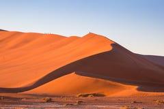 Stor pappadyn, Namib öken, Sossusvlei på soluppgång Arkivbild