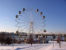 Stor pariserhjuldragning på stranden i Novosibirsk arkivbild