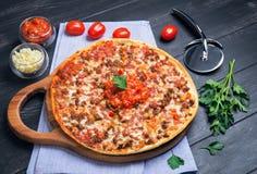 Stor pizza bolognese Fotografering för Bildbyråer