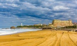 Stor Plage, en strand i Biarritz Arkivfoton