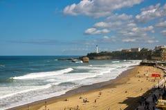 Stor plage för La, den stora stranden av Biarritz Royaltyfri Fotografi