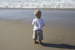 stor pojke little hav Royaltyfri Foto