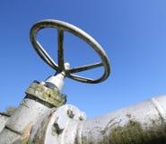 stor portventil för att stänga gastillförselen i facilit för gaslagring Fotografering för Bildbyråer