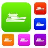 Stor powerboatuppsättningsamling stock illustrationer