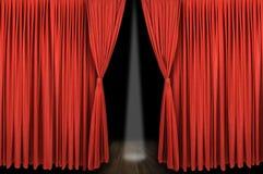 stor röd etapp för gardin Fotografering för Bildbyråer