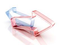 Stor röd Glass framgångbegreppspil Fotografering för Bildbyråer
