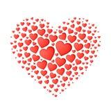 Stor röd hjärta från små Royaltyfria Foton