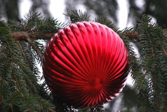 Stor röd julgrandekor med plisséen Royaltyfri Fotografi