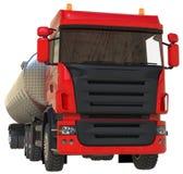 Stor röd lastbiltankfartyg med en polerad metallsläp Sikter från alla sidor illustration 3d royaltyfri illustrationer