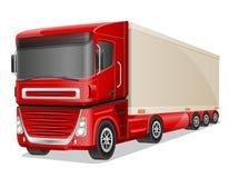 Stor röd lastbilvektorillustration Arkivbilder