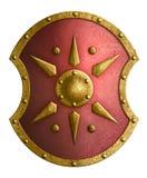 Stor röd metallsköld med den guld- stjärna isolerade illustrationen 3d royaltyfria bilder