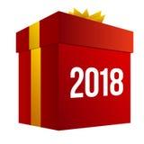 Stor röd närvarande ask med nummer 2018 Arkivbilder