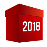 Stor röd närvarande ask med nummer 2018 Arkivbild