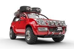 Stor röd 4x4 SUV Arkivfoto