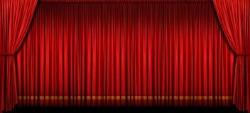 stor röd etapp för gardin Royaltyfria Bilder