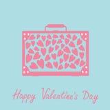 Stor resväska med hjärtor isolerat lyckliga valentiner för kortdag blå pink Royaltyfria Bilder