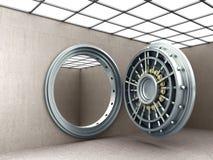 Stor säker dörr med bild för upplösning 3D för tomma tackor hög Arkivfoton