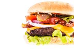 Stor saftig hamburgarecloseup Arkivfoton
