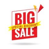 Stor Sale överskriftdesign för baner eller affisch begreppet för bollar 3d avfärdar röd rednerförsäljningsshopping Arkivfoto