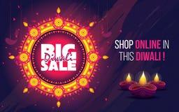 Stor Sale Diwali affisch royaltyfri illustrationer