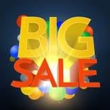 Stor Sale explosion med färgsfärer Arkivfoto
