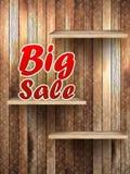 Stor Sale text, på trä. Fotografering för Bildbyråer