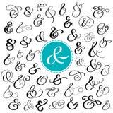 Stor samling av beställnings- handskrivna et-tecken Polerad hand drog symboler för att gifta sig inbjudan också vektor för coreld royaltyfri illustrationer