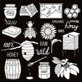 Stor samling av biodlingsymboler stock illustrationer