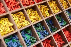 Stor samling av färgrika alfabetbokstäver Royaltyfria Foton