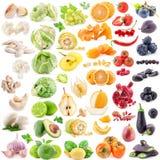 Stor samling av frukter och grönsaker Royaltyfria Bilder