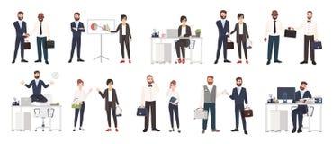 Stor samling av iklädda smarta kläder för affärsfolk eller för kontorsarbetare i olika lägen - danandeavtal royaltyfri illustrationer