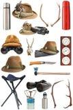 Samling av jakt och utomhus- utrustning Royaltyfri Foto