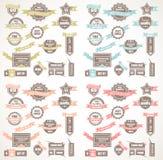 Stor samling av kvalitetsetiketter med version för 4 färger Arkivbilder