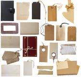 Stor samling av prislappar, etiketter och mellanrumsanmärkningar Arkivfoto