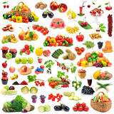 Stor samling av sunda frukter och grönsaker Arkivfoto