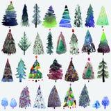 Stor samling av vattenfärgjulgranen på en vit bakgrund Arkivbilder