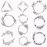 Stor samling av vektorramar från krusidullar för design royaltyfri illustrationer
