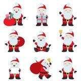 Stor samlingsjul Santa Claus poserar royaltyfri illustrationer