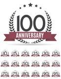 Stor samlingsuppsättning av mallen Logo Anniversary Vector Illustrat Arkivbilder