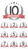 Stor samlingsuppsättning av mallen Logo Anniversary Vector Illustrat Vektor Illustrationer