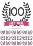 Stor samlingsuppsättning av mallen Logo Anniversary Vector Illustration Arkivbilder