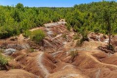 Stor sikt av Badlandsbakgrundsexemplet av badlandsbildande i Caledon, Ontario Royaltyfria Foton