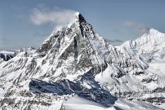 Stor sikt av Matterhorn ?stlig facefrom Zermatt arkivfoton