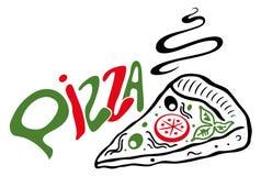 Stor skiva av pizza Royaltyfria Bilder
