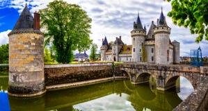 Stor slott Befläcka-sul-Loire berömd Loire Valley flod i franc arkivbild