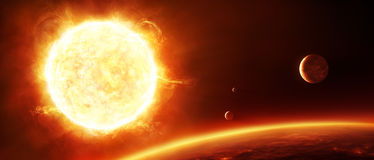 Stor sol med planeter vektor illustrationer