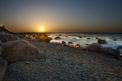 Stor solnedgång i Danmark Royaltyfri Fotografi